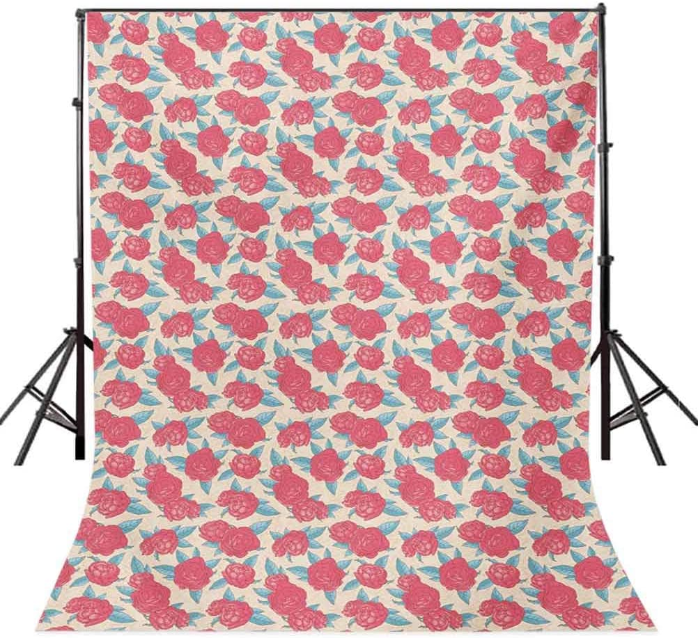 6.5x10 FT Photography Backdrop Valentines Day Style Rose Composition Love Symbol in Pastel Colors Background for Kid Baby Boy Girl Artistic Portrait Photo Shoot Studio Props Video Drape Vinyl