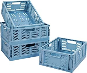 4 PC Baskets Plastic for Shelf Home Kitchen Storage Bin Organizer, Stackable Container Crate for Bedroom Bathroom Office Clothes Toy Beauty(Blue, 13.3x10.2x5.1)