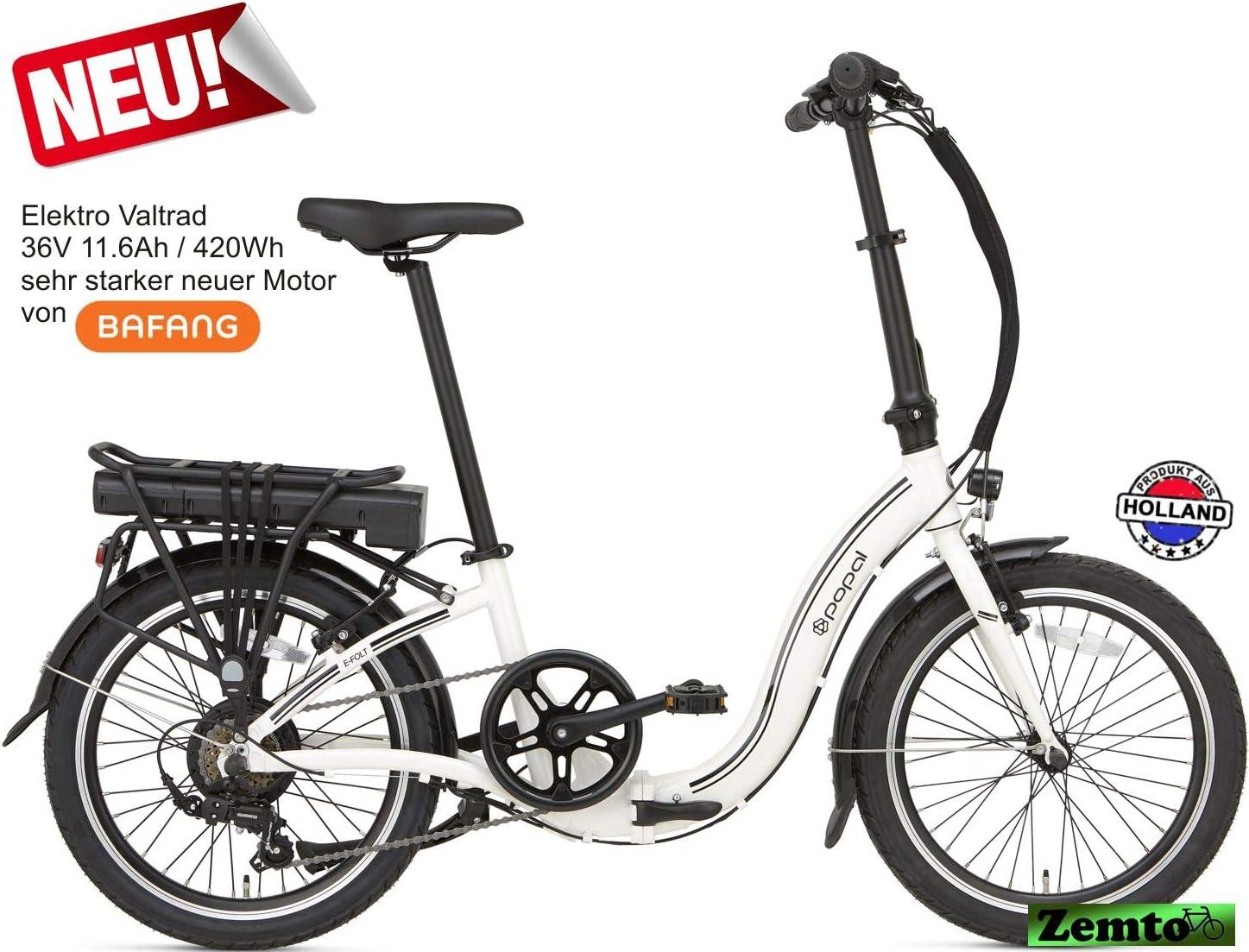 Zemto - Bicicleta eléctrica plegable (36 V, 11,6 Ah, 420 Wh), color blanco: Amazon.es: Deportes y aire libre
