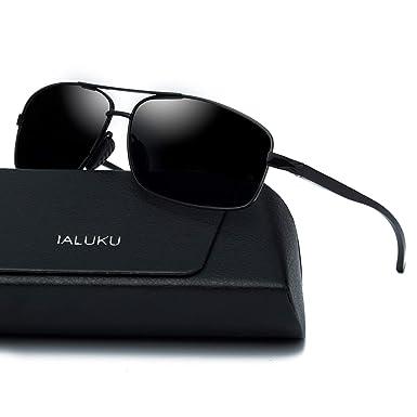 f6db29e980 Amazon.com  IALUKU Rectangular Polarized Sunglasses for Men Square Retro  Aviator Sunglasses (Black Grey