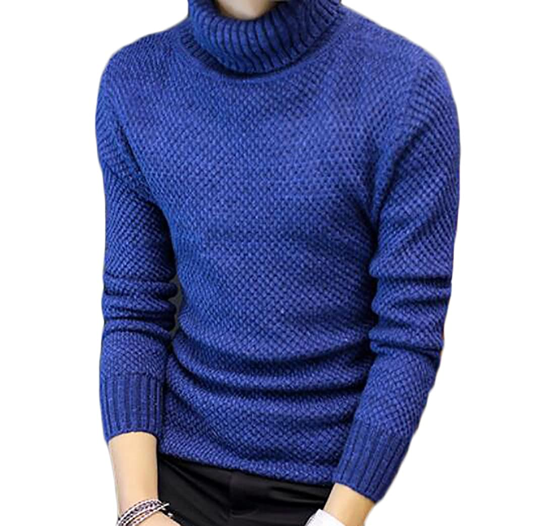 BYWX Men Plus Size Autumn Turtle Neck Solid Pullover Thermal Knitwear Sweaters