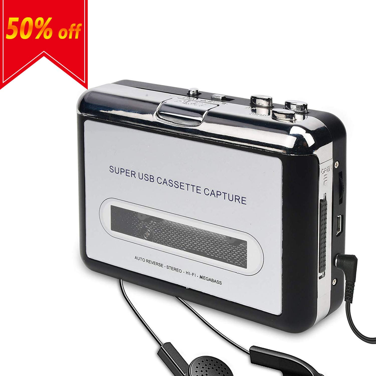 DIGITNOW Cassette Player-Cassette Tape to MP3 CD Converter Via USB,Portable Cassette Tape Converter Captures MP3 Audio Music,Convert Walkman Tape Cassette to MP3 Format, Compatible with Laptop and PC BR602-CA