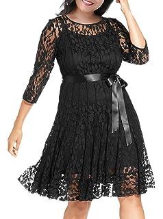 3b192be5a2d Nemidor Women s Illusion Floral Lace 3 4 Sleeves Plus Size Cocktail Dress