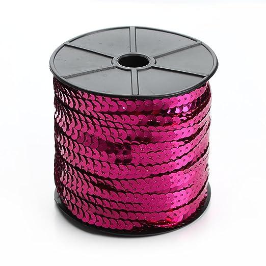 Linsoir Beads Spangle Flat Sequins Paillette Trim Spool String 6mm Sequins 100 Yards Pink Color