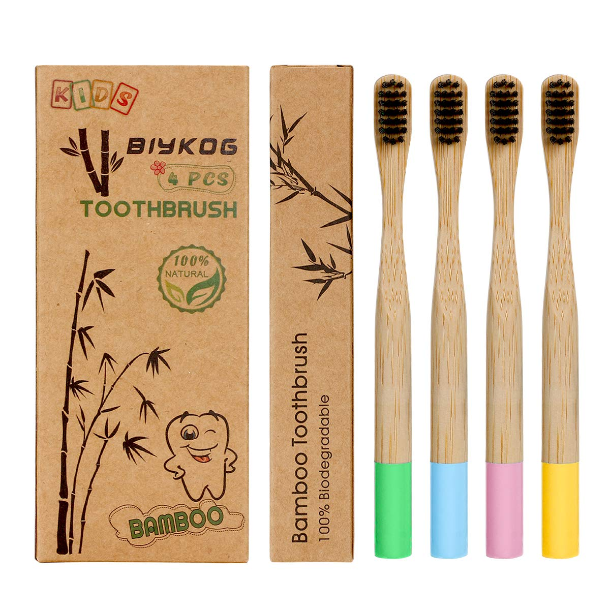 Biykog Kids Bamboo Toothbrushes, 4PCS Eco-Friendly Toothbrushes with 100% Biodegradable Charcoal Infused Bristles, BPA-Free Nature Soft Toothbrush for Children, Zero Waste Dental Care Product