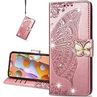 COTDINFOR etui do Samsung Galaxy M51 etui kryształowy błyskotki błyszczący motyl skóra PU portfel etui magnetyczne…