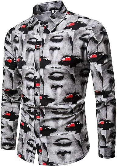 YANJK Mens Shirt Long Sleeve Fashion Casual Flower Shirt Business Slim Print Shirt