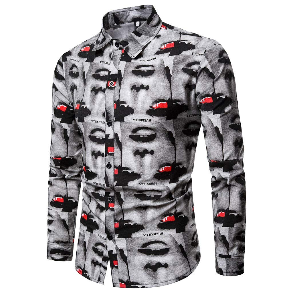 FIged Men Shirts Mens Spring Casual Slim Fit Shirts Printed Long Sleeve Button Shirt Top Blouse Gray