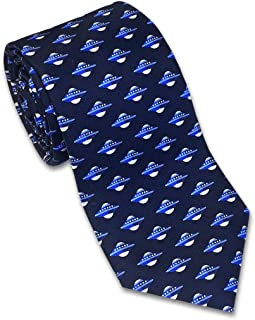 product image for Josh Bach Men's Silk Necktie, Flying Saucer Astronomy Themed Tie in Blue, Made in USA
