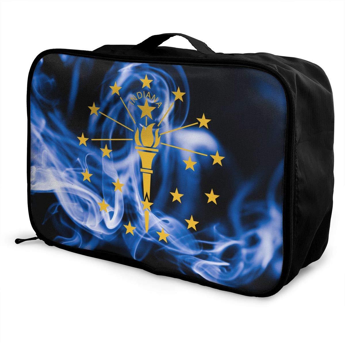 Indiana State Smoke Flag Travel Bag Portable Luggage Bags Duffle Bag Large Capacity Travel Organizer Bag