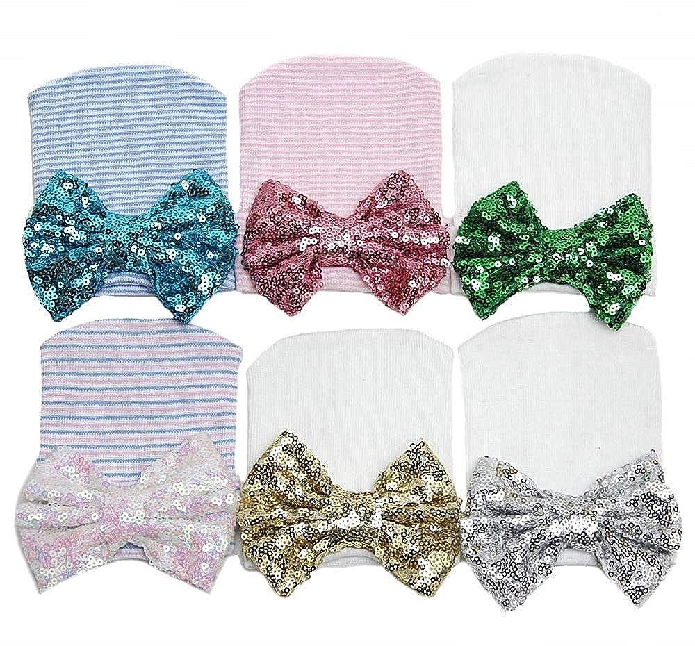 Cappello da neonata a Righe Bianche e Rosa con Fiocco Paillettato Taglia Unica Delizioso Accessorio Moda Idea Regalo New Born