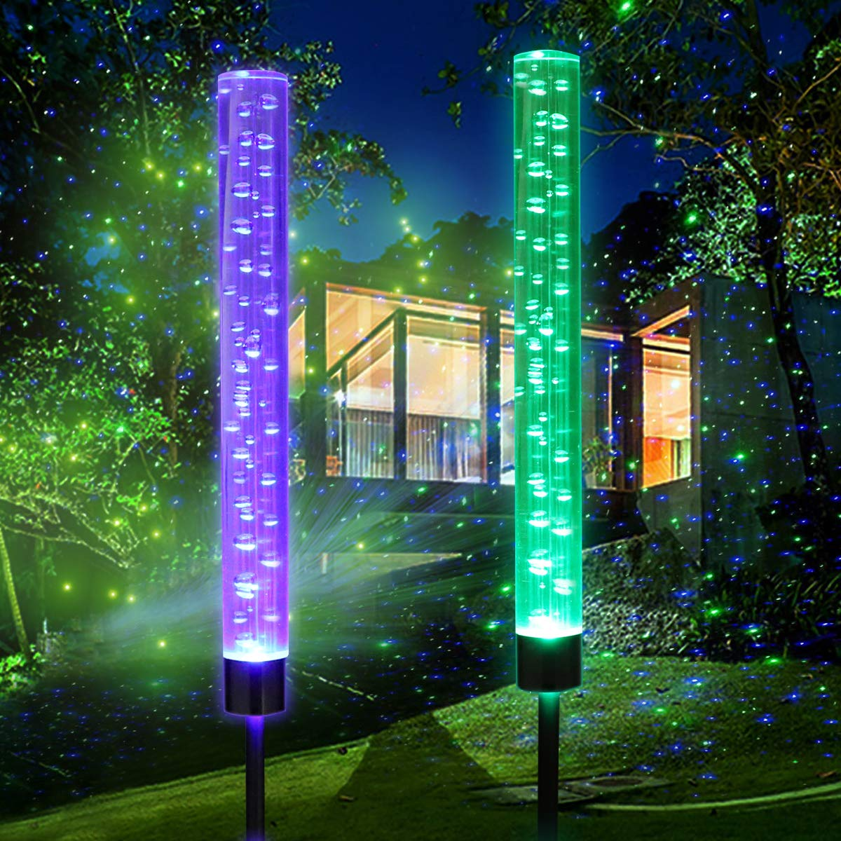 Outdoor Solar Garden Stake Lights,Wohome 2pcs Solar Acrylic Bubble RGB Color, Solar Landscape Lighting Light for Garden, Patio,Yard Decoration by WOHOME