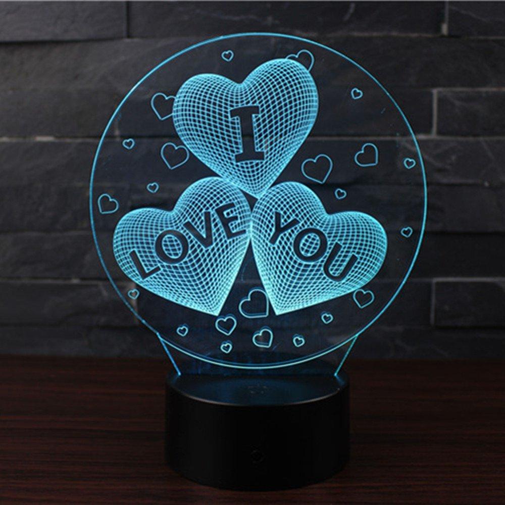 3D Optische Illusions-Lampen NHsunray LED 7 Farben Touch-Schalter /Ändern Nachtlicht F/ür Schlafzimmer Home Decoration Hochzeit Geburtstag Weihnachten Valentine Geschenk BALLON UND B/ÄR