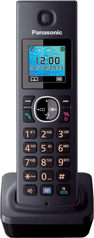 Panasonic KX-TGA785EXB - Teléfono inalámbrico supletorio (gran alcance, Supletorio Adicional, Base Fina y Compacta, Teleconferencia) color Negro