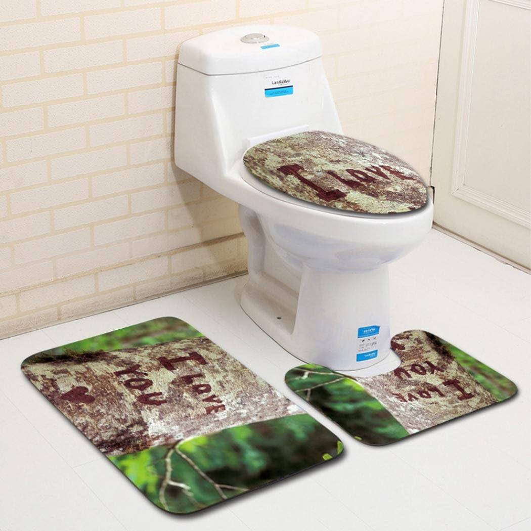 Washroom Toilet Seat Cover Pad Cartoon Rug Plush Mat Bathroom Set Home Decor LE