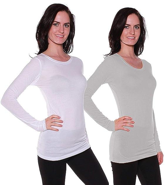 c2d76b73a432ec Amazon.com: Active Basic Women's Plain Basic Cotton Blend Deep V ...