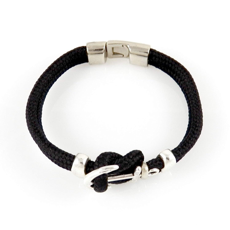 0fbbe1e30095 AKIEE Pulsera Ancla para Hombre o Mujer con Cuerda Negra P-ANCLA-1 ...