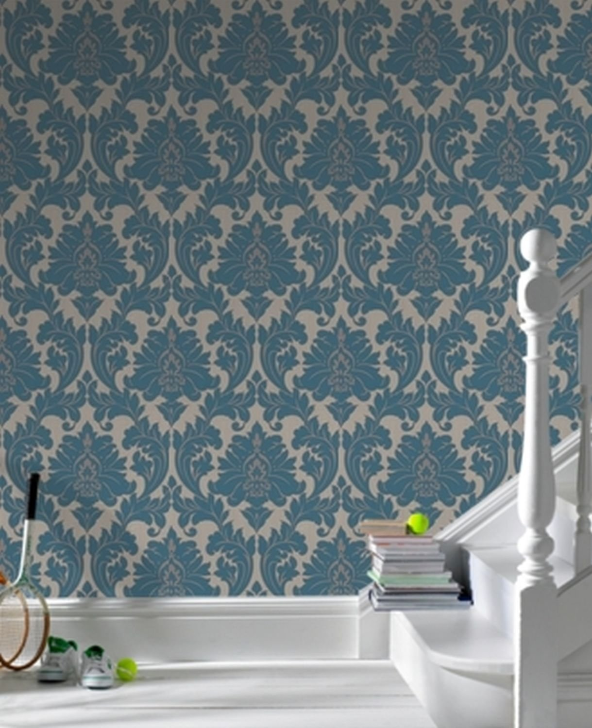 graham brown 30 435 superfresco easy majestic wallpaper teal amazoncom - Contemporary Damask Wallpaper
