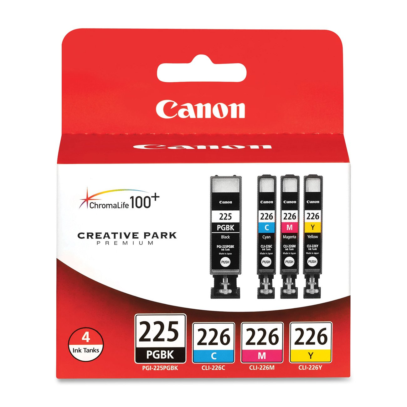 Canon PGI-225BK Black and CLI-226 C/M/Y Color Ink Cartridges (4530B008), Combo 4/Pack by Canon