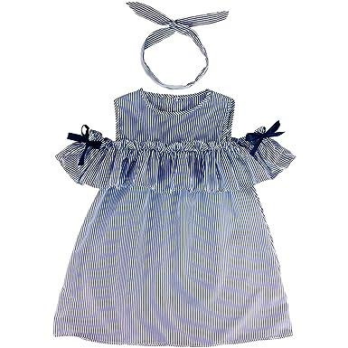 10a964a14f01 Amazon.com  Jastore Toddler Kids Baby Girl Strapless Stripe Dress+ ...