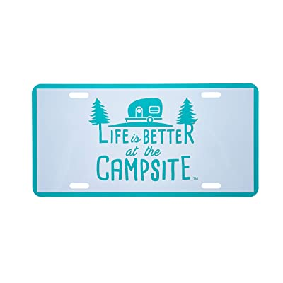 """Camco Life is Better at The Campsite Novelty Vehicle Front License Plate - Perfect for RVs, Campers and Trailers and More, 6"""" x 12"""", Teal Blue (53251): Automotive"""