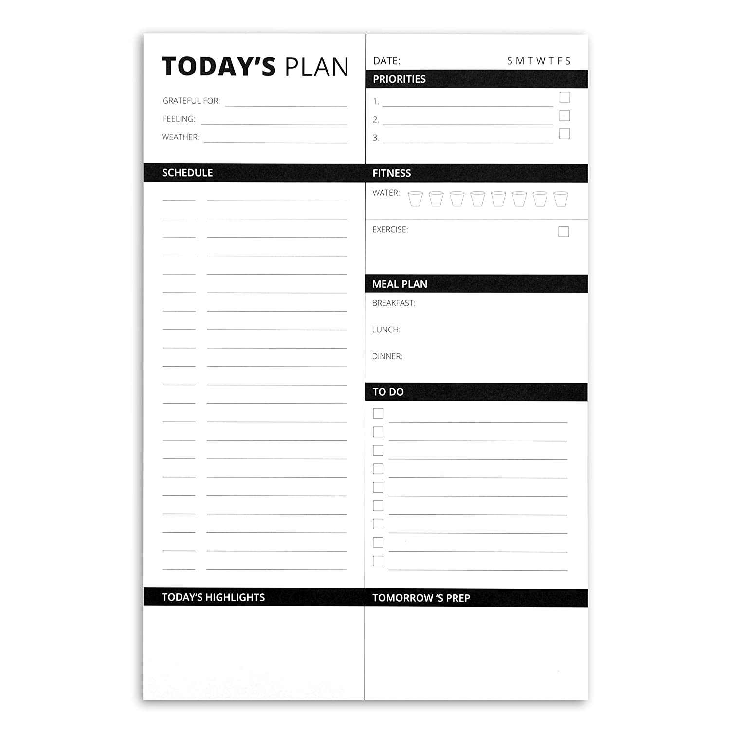 Home Advantage Daily Planner Paper Notepad with 50 Tear Off Sheets and 2 Magnetic Strip (Black, 6x9)