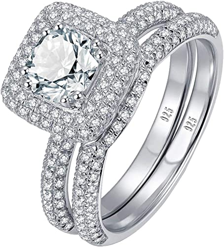Women/'s 0.8 Ct 925 Sterling Silver Heart Cut AAA CZ Halo 3-Stone Solitaire Ring