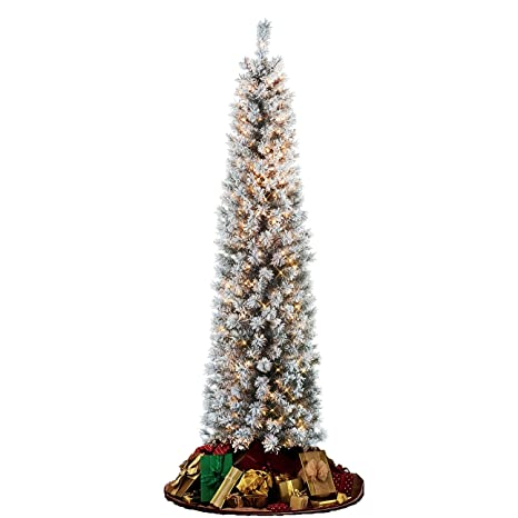 Flocked Pencil Slim Christmas Tree 7ft With Stay Lit Lights