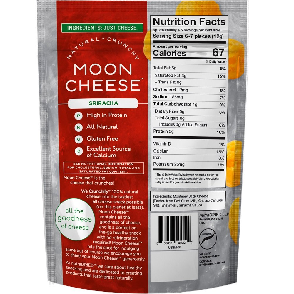 Moon Cheese, Pack of 12, Assortment (Cheddar, Gouda, Pepperjack, Sriracha), 100% Cheese and Gluten Free, 2 OZ Bags by Moon Cheese (Image #5)