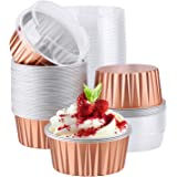 Disposable Ramekins, Eusoar 5oz 50pcs Foil Cupcake Liners, Aluminum Foil Muffin Liners Cups with Lids, Disposable Aluminum Fo