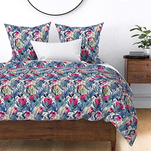 Floral Jungle Protea Proteas Painted South Africa Fynbos Pillow Sham by Roostery