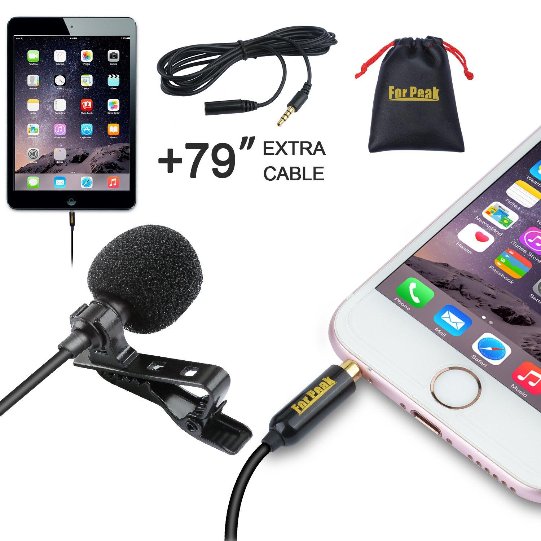 Omnidireccional Micr/ófono condensador con sistema de clip para iPhone iPad Android Windows Smartphones Grabaci/ón Youtube Entrevista Podcast ASMR Micr/ófono de solapa Lavalier