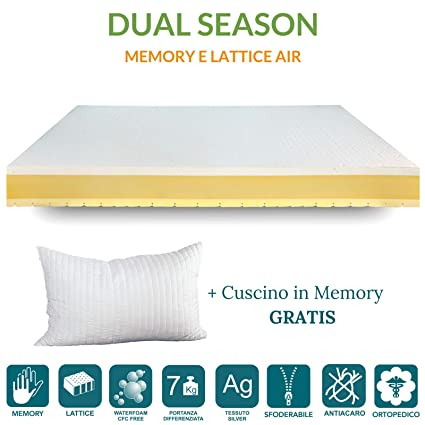 Colchón Memory Individual 85 x 195 Dual Season, colchón látex 4 cm