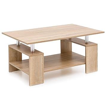 FineBuy Design Couchtisch Holz 90x46,5x60cm Sonoma Holztisch mit ...