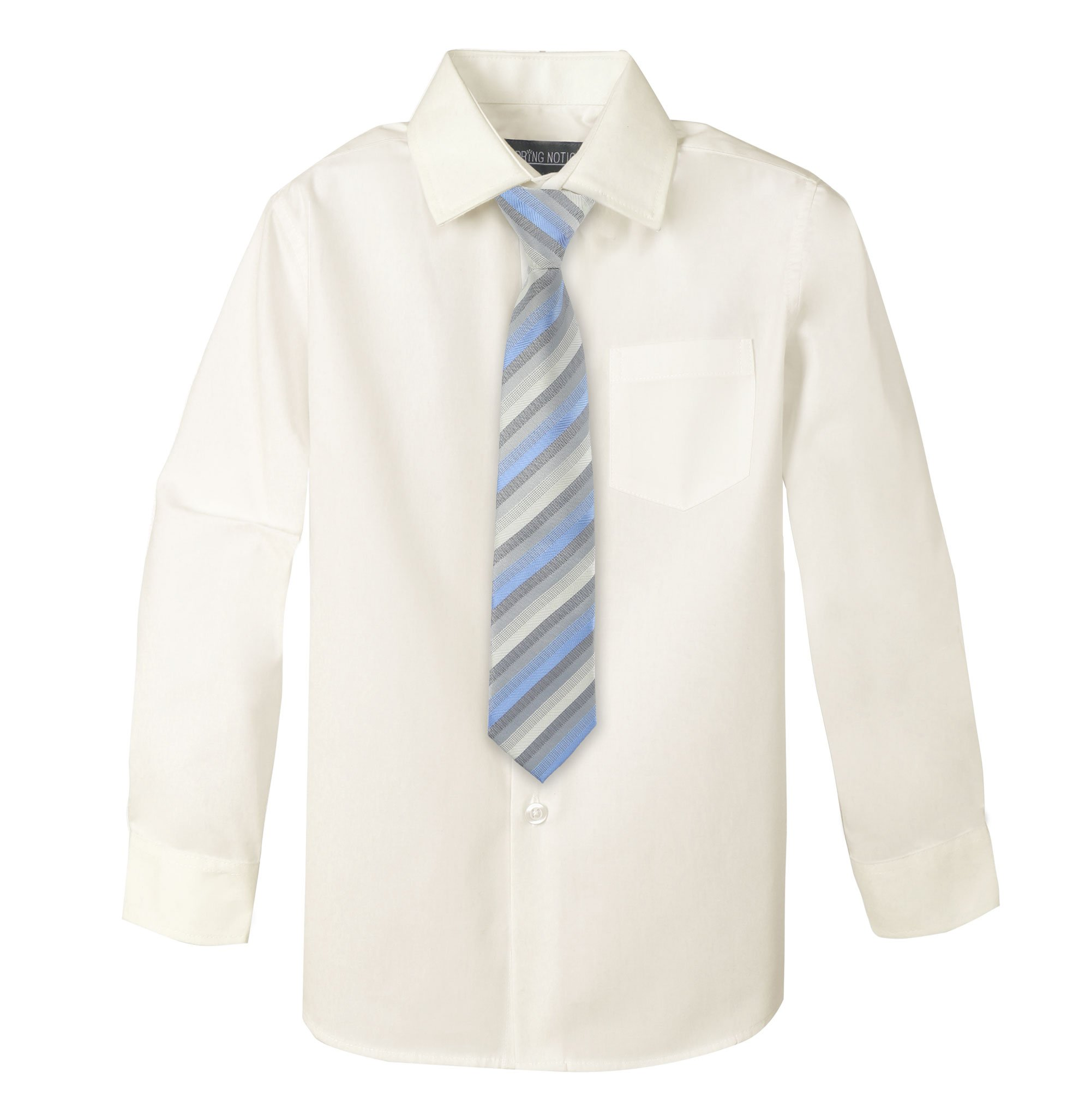 Spring Notion Big Boys' Cotton Blend Dress Shirt and Tie Set 18M Ivory