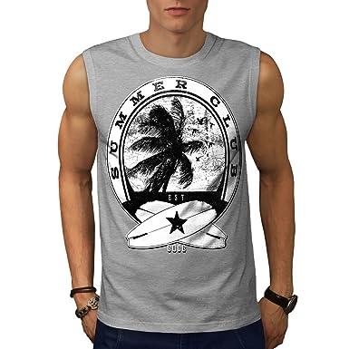 Wellcoda Summer Surf Waves USA Mens Tank Top Palm Active Sports Shirt