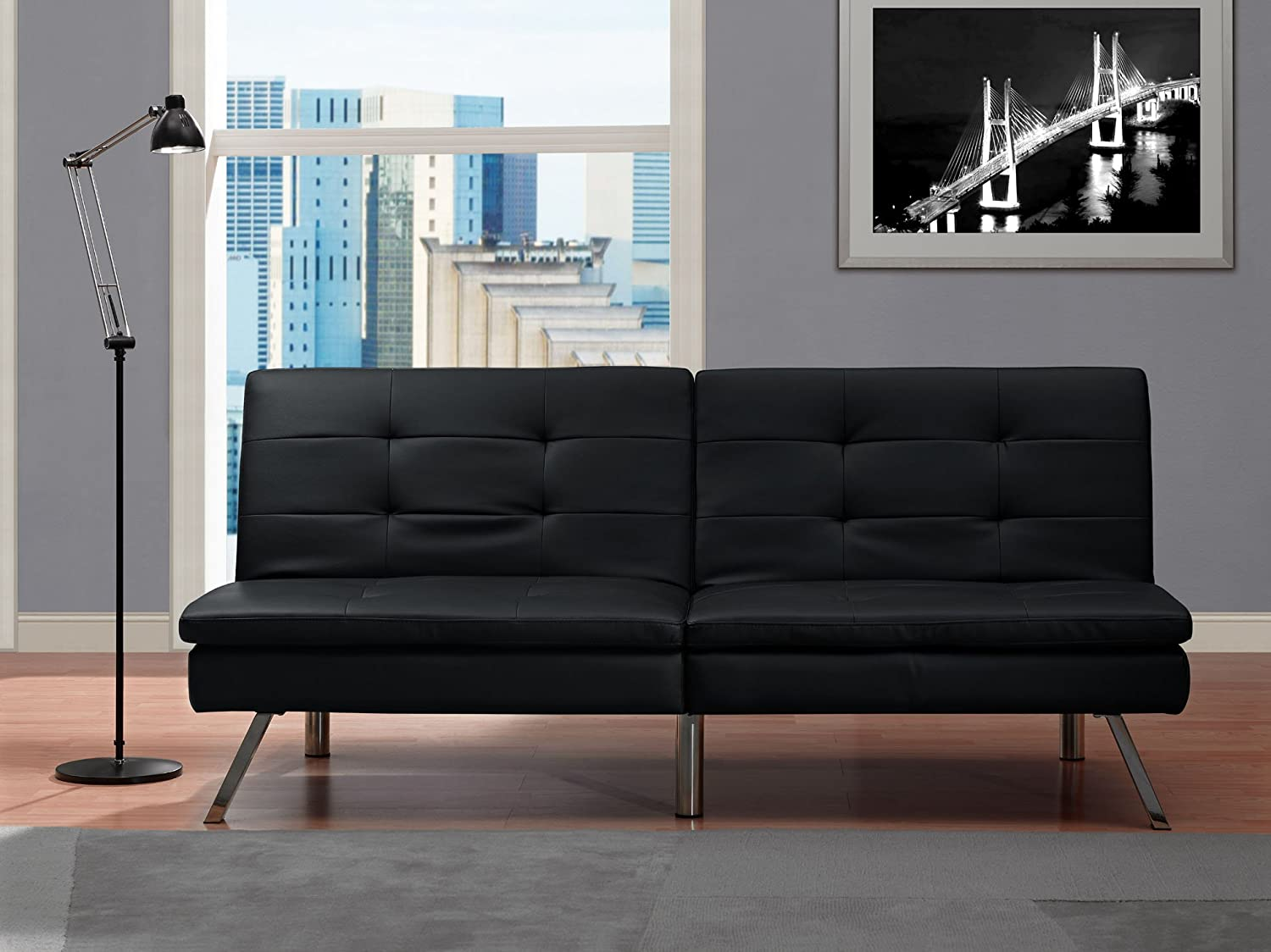 Amazon DHP Chelsea Convertible Futon with Chrome Legs Multi