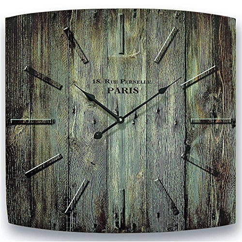 The Parisian Rue de Pernelle Analog Wall Clock, Quartz Movement, Trompe-l'œil Wood Grain With Hints of Green Printed Glass Face, Over 1 1/2 Ft W, Battery Powered, 1 AA Battery By Whole House Worlds