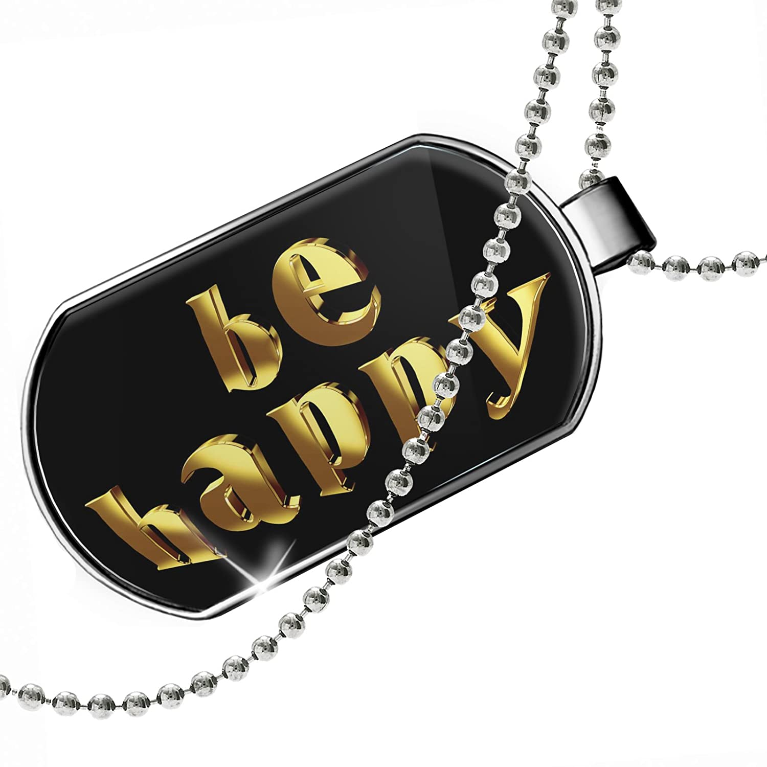 NEONBLOND Personalized Name Engraved Be Happy Printed Gold Looking Lettering Dogtag Necklace