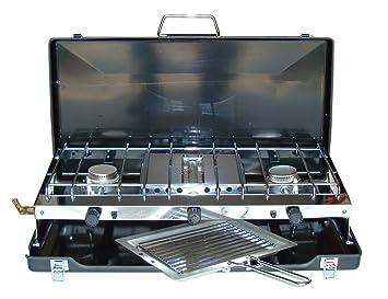 NEW Gas portátil doble Dual 2 hornillo de acampada estufa con rejilla y cubierta