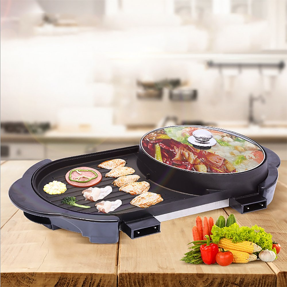 Korean Style BBQ Poke Hot Pot Dual Pot Barbecue Machine, Non-Stick All Powerful Stovetop Grill Electric Multifunctional Smoke-Free Baking Pan Multi - Purpose Pot [Energy Class A] Electric grill