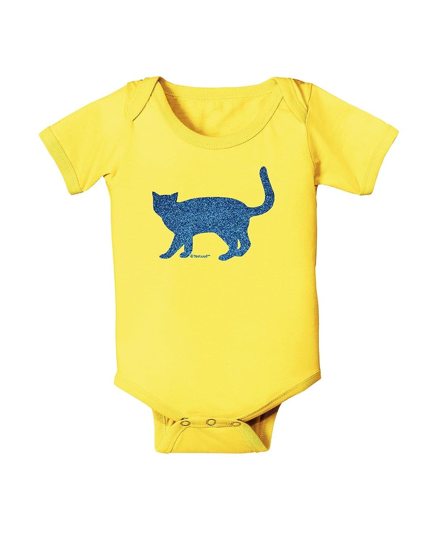 TooLoud Cat Silhouette Design Blue Glitter Baby Romper Bodysuit