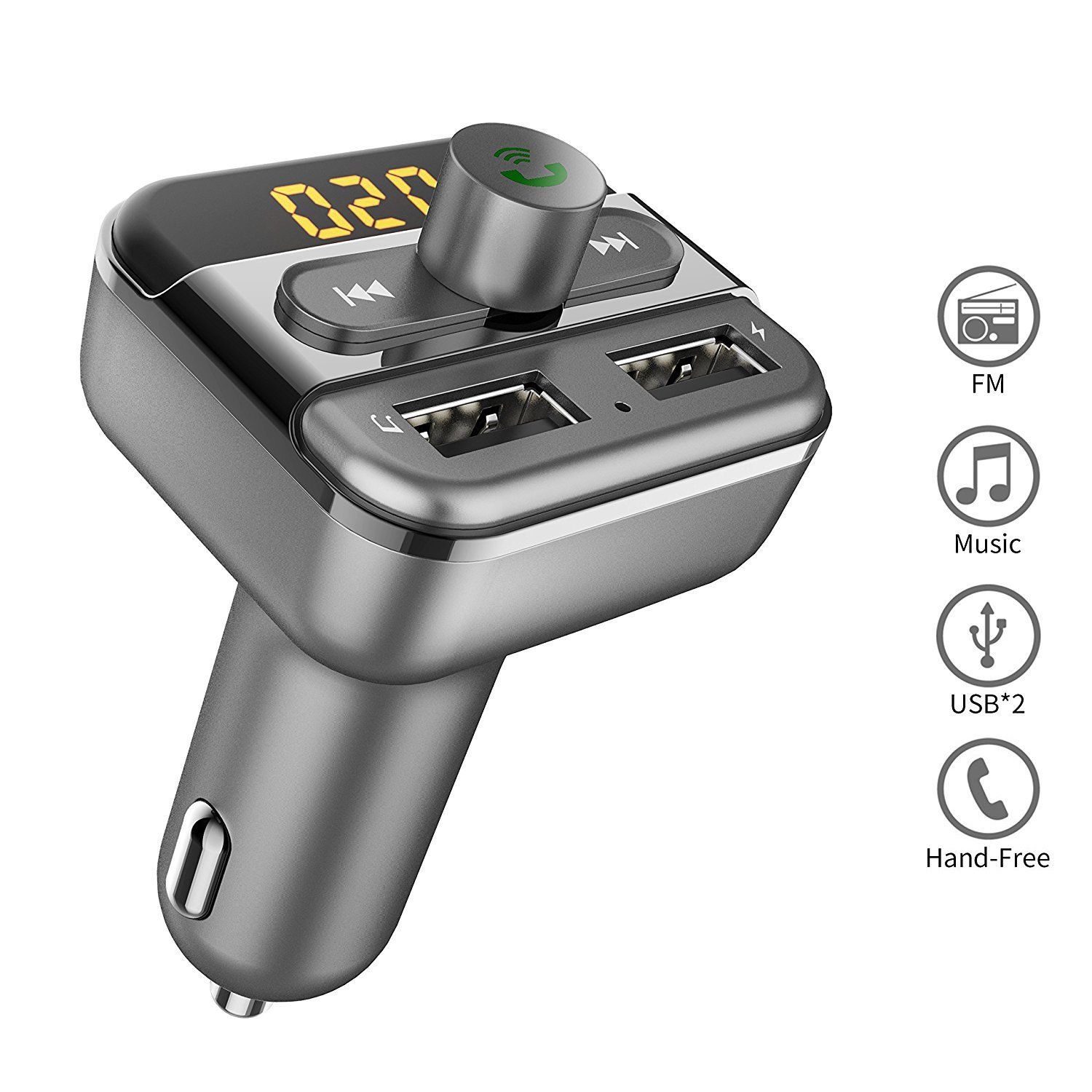 Bluetooth FM Transmitter for Car, TOMPOL Bluetooth FM Radio Adapter Car FM Transmitter, 5V/3.4A Dual USB Ports Car Charger for iPhone Samsung Android Smartphone, Hands-Free Calling, U-dish MP3 Player