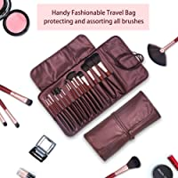 Diolan Makeup Brushes Set 15 Pieces Wooden Handle Premium Synthetic Foundation Blending Blush Concealer Eyeliner Face Cosmetics Makeup Brush Kit With Portable Travel Bag