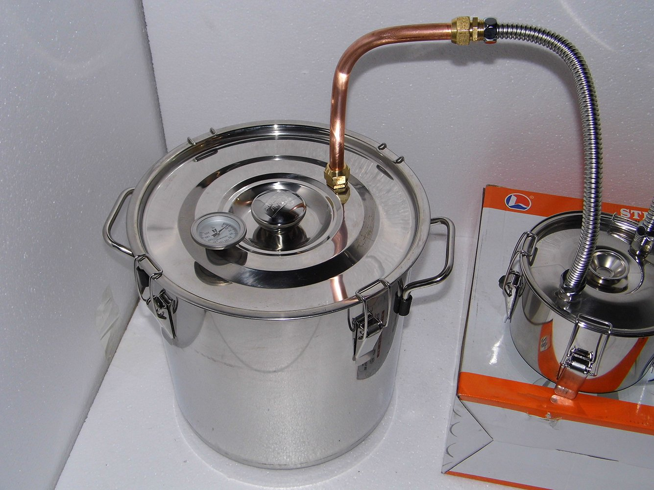 OLizee 5 Gal Stainless Steel Water Alcohol Distiller Copper Tube 18L Moonshine Still Spirits Boiler Home Brewing Kit with Thumper Keg by OLizee (Image #2)