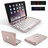 iPad Mini 1/2/3 Keyboard Case,Genjia Portable Carrying Aluminum Holder Wireless Bluetooth Keyboard Hard Case with Backlit Ultra thin Folio Cover Flip Smartshell for iPad Mini 1,2,3 7.9 inch Rose Gold
