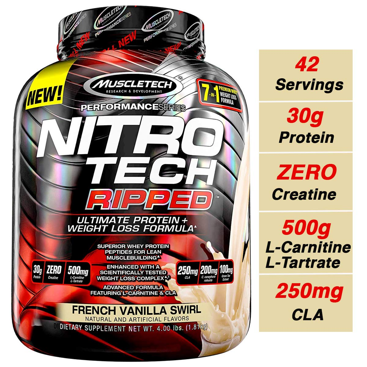 MuscleTech Nitro Tech Ripped Ultra Clean Whey Protein Isolate Powder + Weight Loss Formula, Low Sugar, Low Carb, French Vanilla Swirl, 4 Pounds by MuscleTech