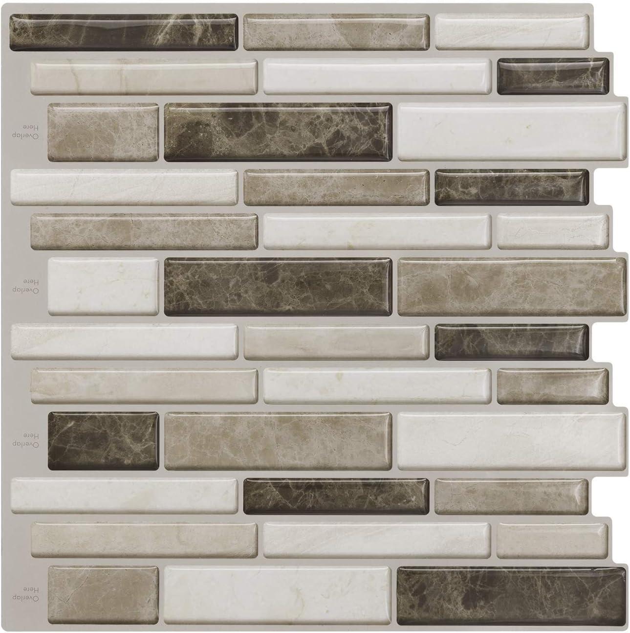 - Peel And Stick Tiles For Kitchen Backsplash-Beige And Brown Tile