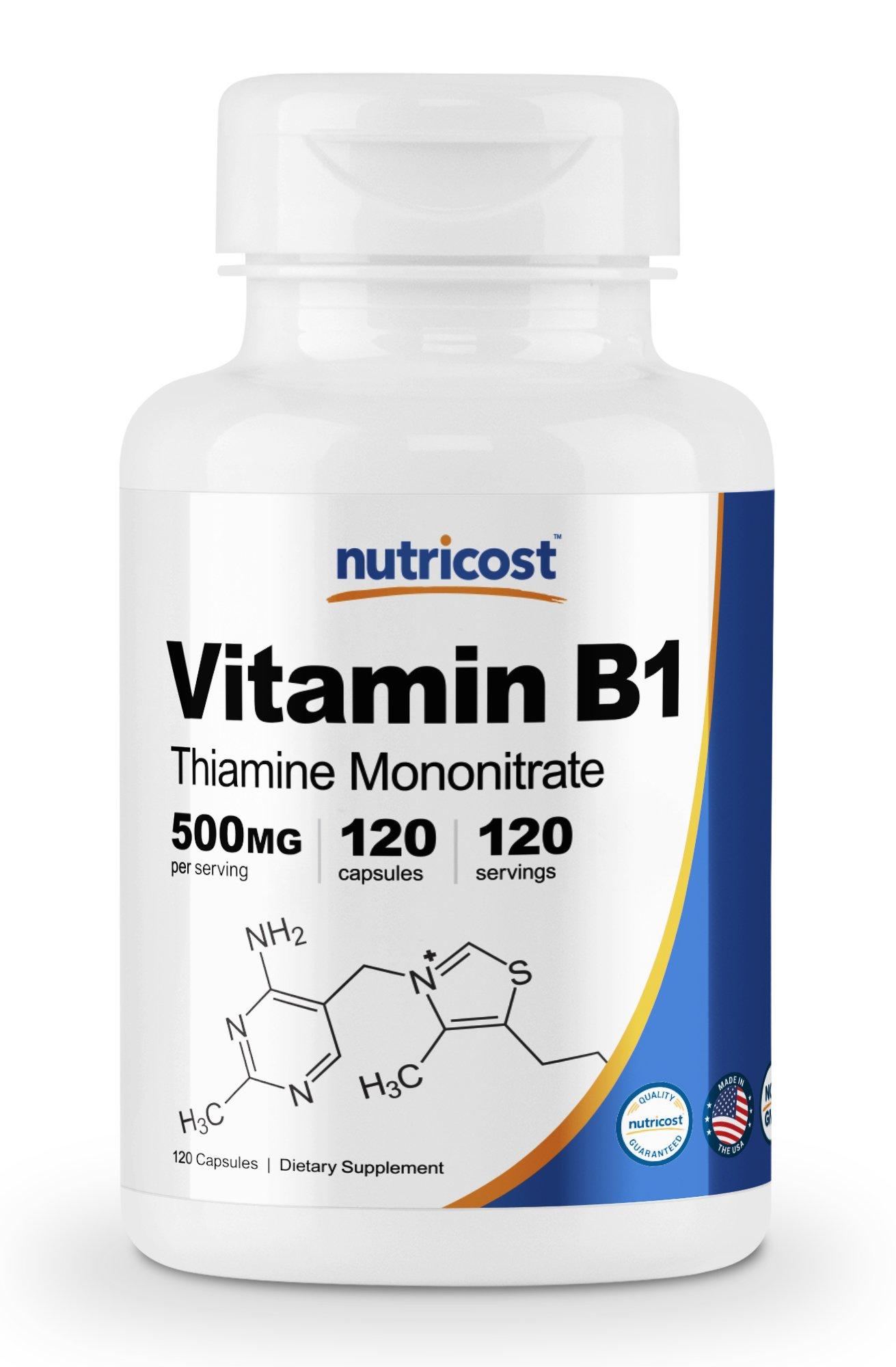 Nutricost Vitamin B1 (Thiamine) 500mg, 120 Capsules