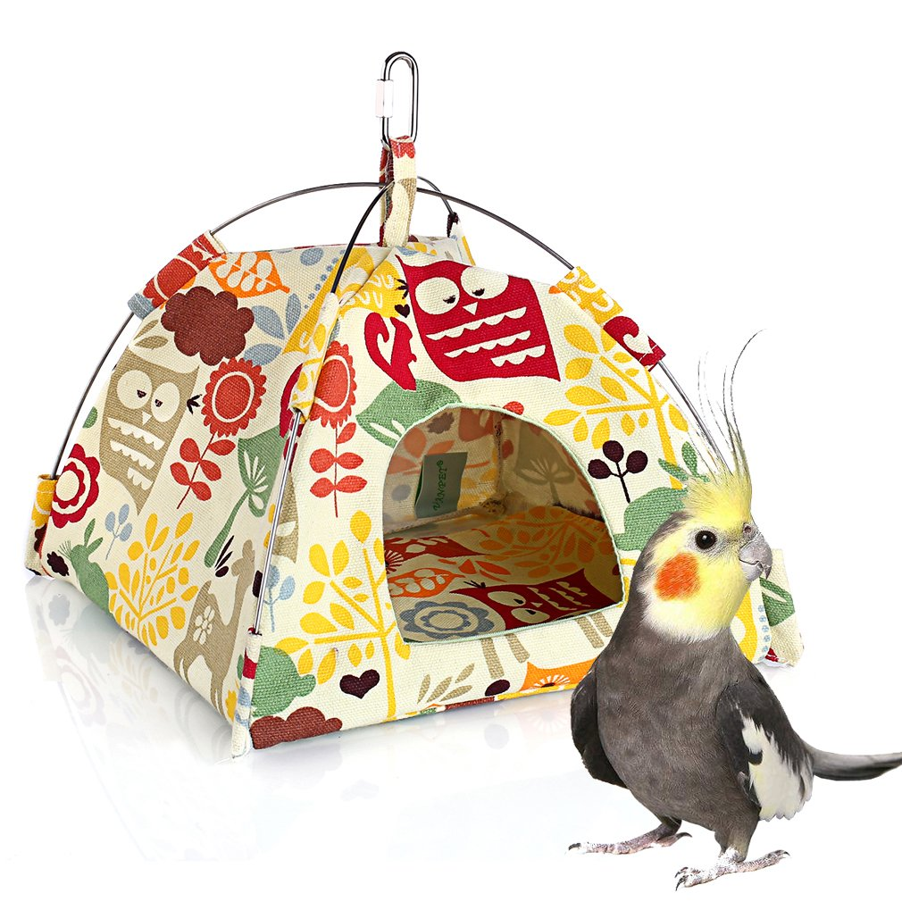 KINTOR Bird Nest House Bed, Parrot Habitat Cave Hanging Tent, Vibrant Parakeet Snuggle Hut Hammock, Intelligence & Physique Improvement Cage Decor for Small Animals (M)